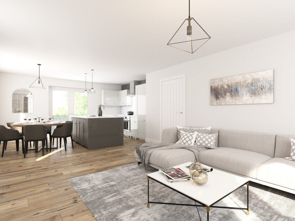open plan living dining area
